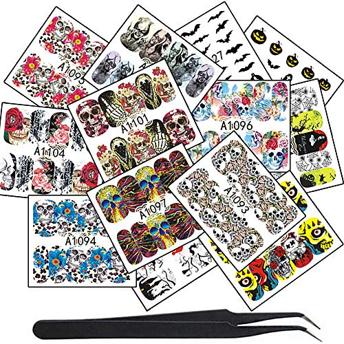 WOKOTO 48 Sheets Waterslide Nail Decals With 1Pcs Tweezers Full Wraps Nail Stickers Shull Cat Bat Vampire Owl Manicure Kits For Women ()