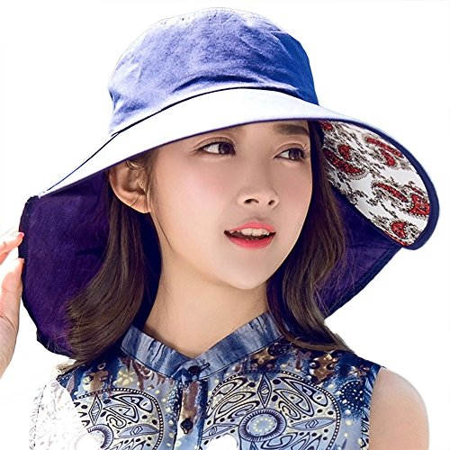 Siggi Womens Wide Brim Summer Sun Flap Cap Hat Neck Cover Cord Cotton UPF 50+ Navy