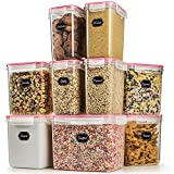 Cereal Container - Blingco Airtight Storage Containers Set of 9 Large Dry Food Storage Containers for Flour Sugar Plastic Containers - Airtight, Leakproof - Includes Measuring Cup & Chalkboard Labels