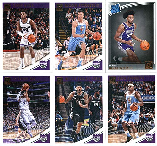 2018-19 Donruss Basketball Sacramento Kings Team Set of 6 Cards: (Rookies included) De'Aaron Fox(#51), Bogdan Bogdanovic(#61), Buddy Hield(#71), Zach Randolph(#81), Willie Cauley-Stein(#91), Marvin Bagley III(#168)