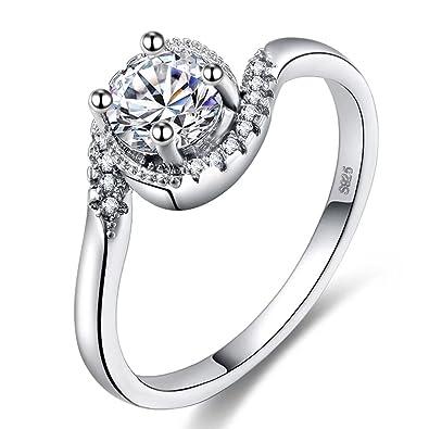 48a520a61b387 Amazon.com: FENDINA Gorgeous Dainty Wave Ring Clear Stone 18K White ...