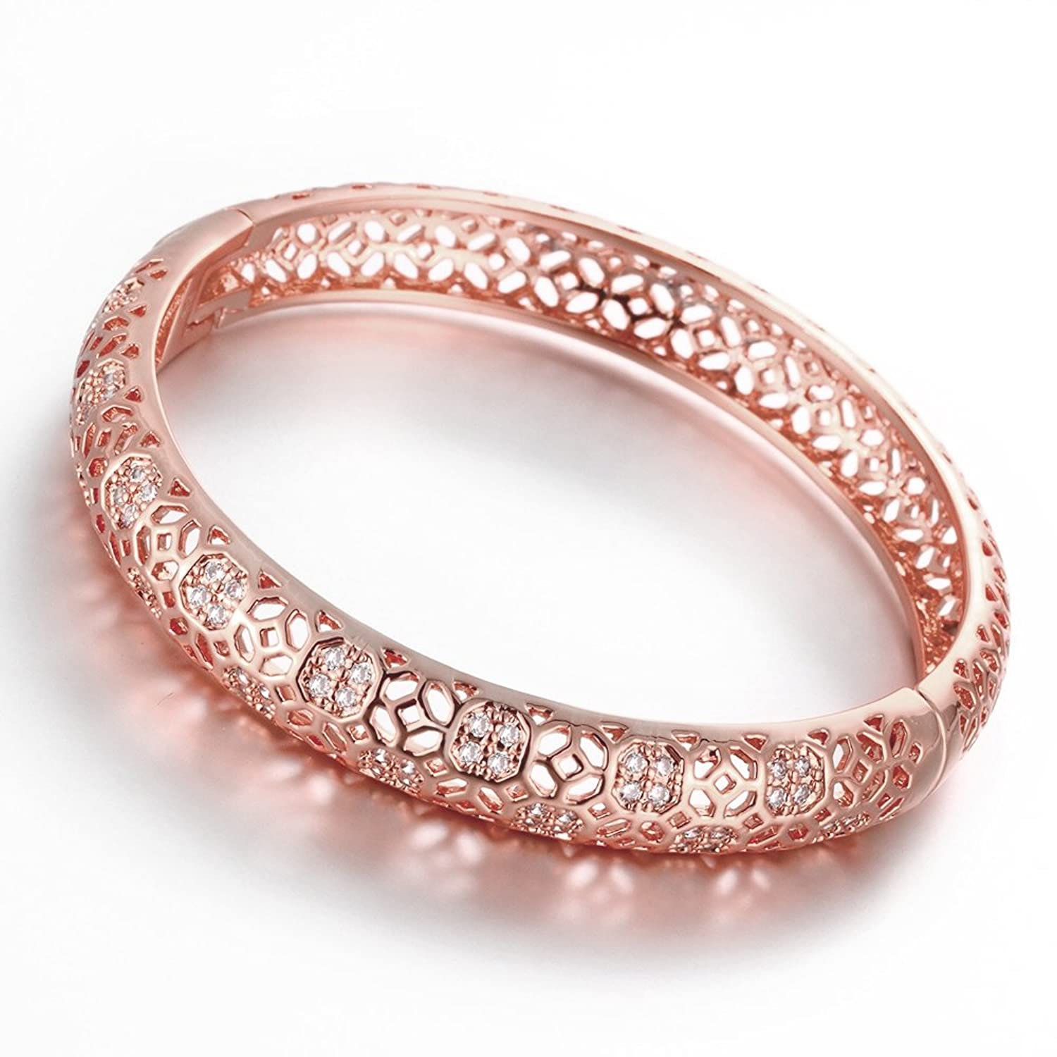 Amazon.com: 18K Rose Gold Plated Filigree Pattern Bangle Bracelets ...