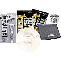Flitz PB101 Orange Large 5-inch Buff Ball + 1.79oz Polish Paste + 2-pack Microfiber Cleaning Cloth/Towel + 2 mini-packs polish combo