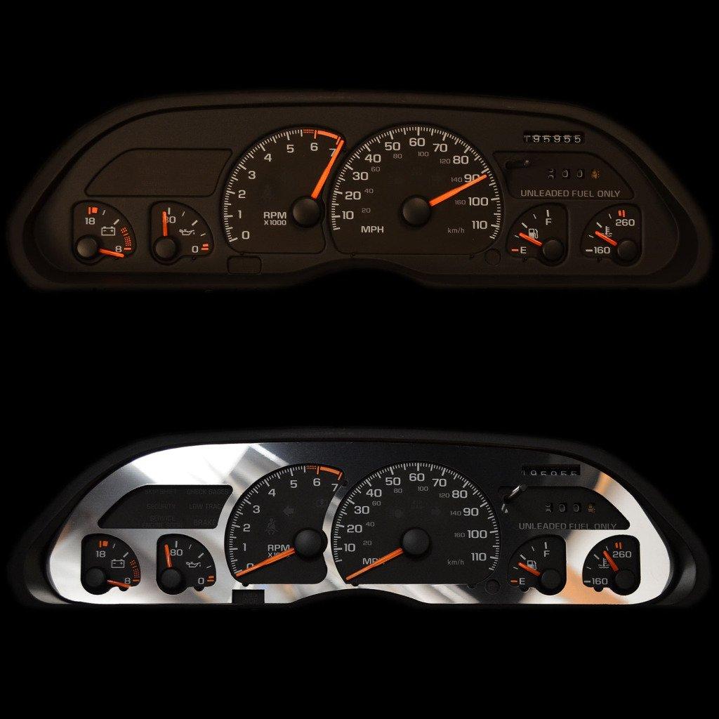 RPM Gauges BZL-181-Chrome-02 1998-2004 Chevy S10 With Tachometer Ferreus Industries Polished Stainless Gauge Cluster Dash Bezel Trim fits