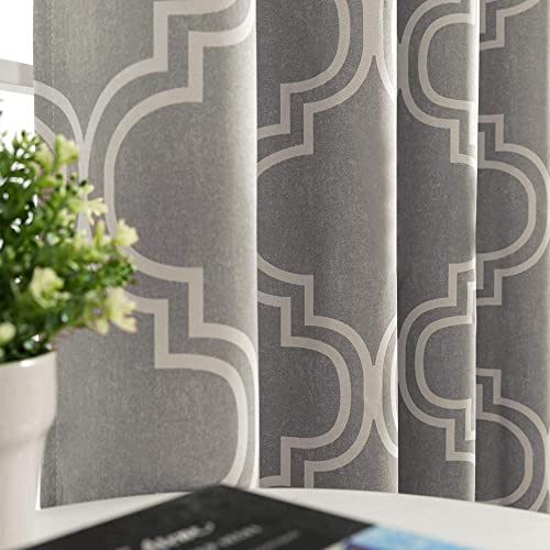 Vangao Room Darkening Curtains Quatrefoil Morrocan Tile Print Grey Drapes for Bedroom 95 inches 85 Blackout for Living Room Thermal Insulated, Grommet Top, 2 Panels,Gray