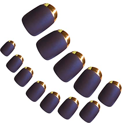 Vococal-24pz Uñas Postizas Mate con Borde Metálico/Falso Artificial Sugerencias Nail Art Decoración