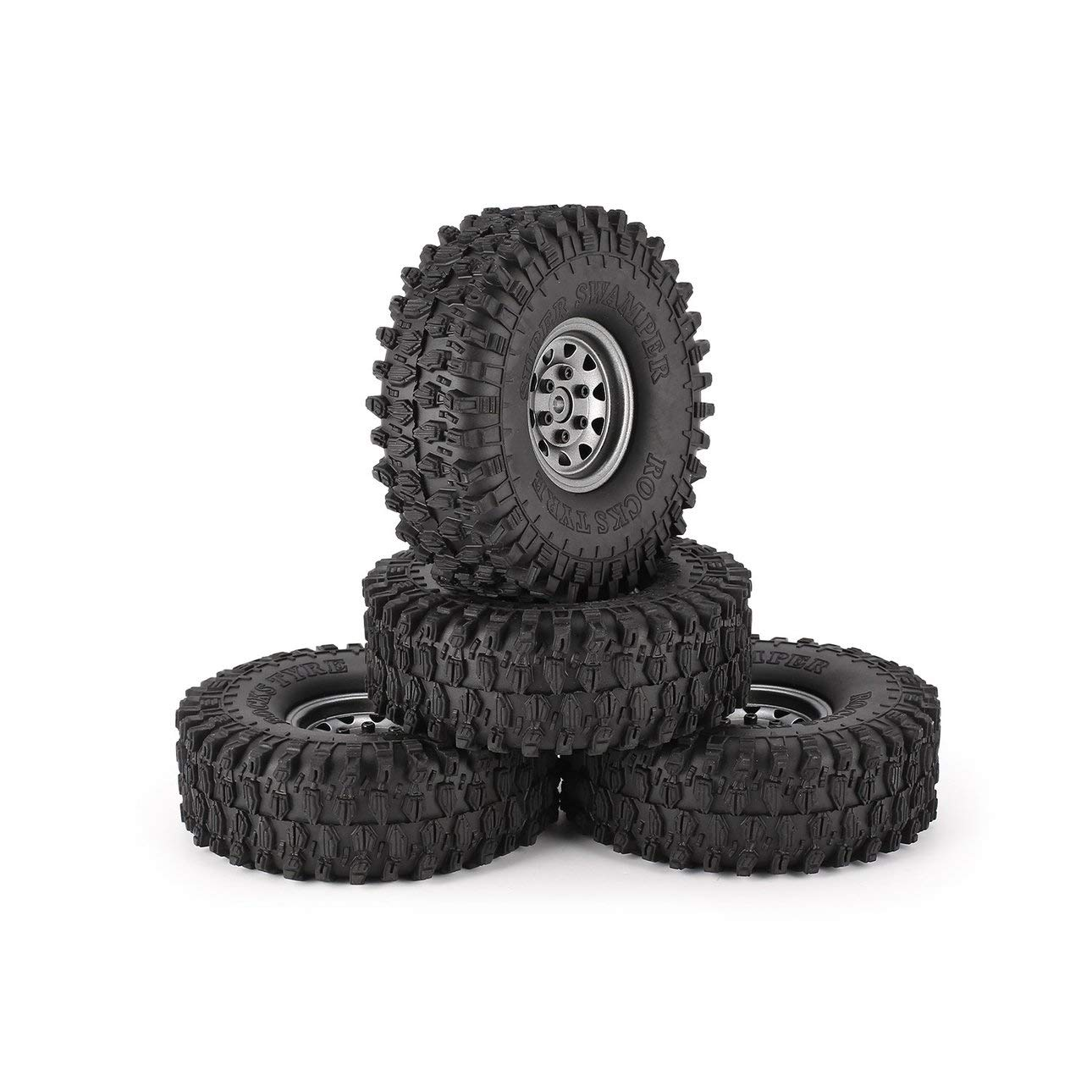 Ballylelly 4Pcs 1,9 Zoll 120mm Gummireifen Reifen mit Metall Felge Set für 1/10 Traxxas TRX-4 SCX10 RC4 D90 RC Raupen Auto Teil (Grau - Deltamuster Rad - 120mmmm)