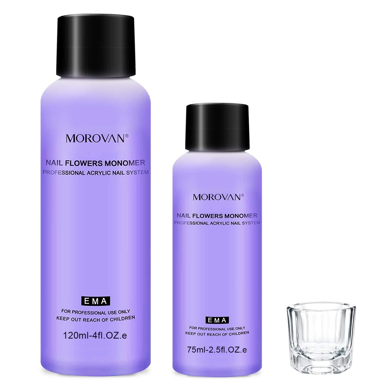 Morovan Monomer Acrylic Nail Liquid Professional Liquid Monomer for Acrylic Powder 4OZ + 2.5OZ Non-Yellow Acrylic Monomer for Acrylic Nail Extension