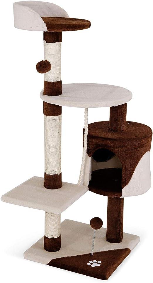 Oferta amazon: Árbol rascador para gatos, 112 cm (marrón / beige)