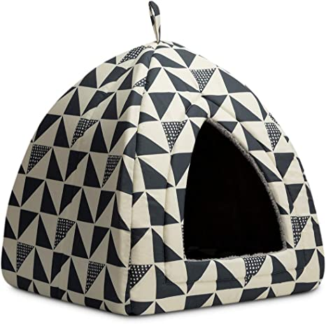 16 x 16 x 17 inches Triangle Feline House Hut with Washable Cushion for Indoor Outdoor Hollypet Pet Bed Self-Warming 2 in 1 Cat Tent Cave for Kittens and Small Dogs