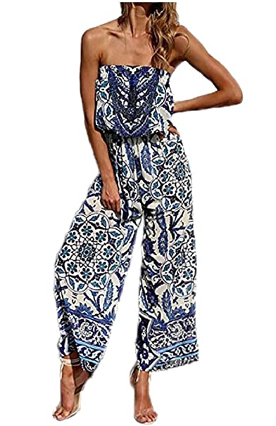 a8b8bf2229 Amazon.com  Qiangjinjiu Women Strapless High Waist Romper Floral Print Wide  Leg Jumpsuit Long Pant  Clothing