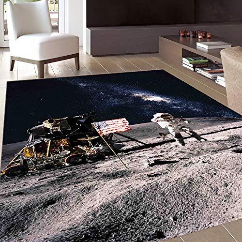 Rug,FloorMatRug,Galaxy,AreaRug,Astronaut on Rocky Surface of Moon American Flag USA Rocket Traveling Space Art,Home mat,4