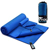 """2 Pack Microfiber Travel Sports Towel - Wolfyok XL Ultra Absorbent and Quick Drying Swimming Towel (58"""" X 30"""") with Hand/Face Towel (23.6"""" X 15.7"""") for Sports, Gym, Backpacking, Beach, Yoga or Bath"""