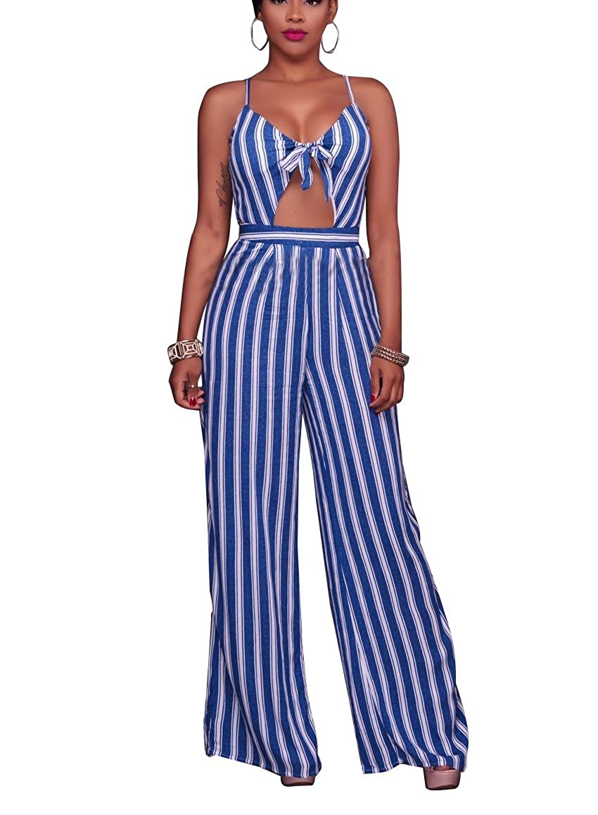 e4824d1a3db Amazon.com  Annystore Womens Sexy Crop Top Deep V Neck Backless Wide Leg  Jumpsuits Rompers  Clothing