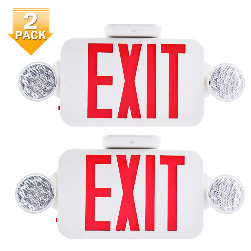 【2 Pack】UL Certified LED Round Emergency Light Exit Sign Hardwired Compact Combo with 2 Adjustable Head Lights,Red Emergency Exit Lighting Commercial Grade High Output 61zf6j4zg8L