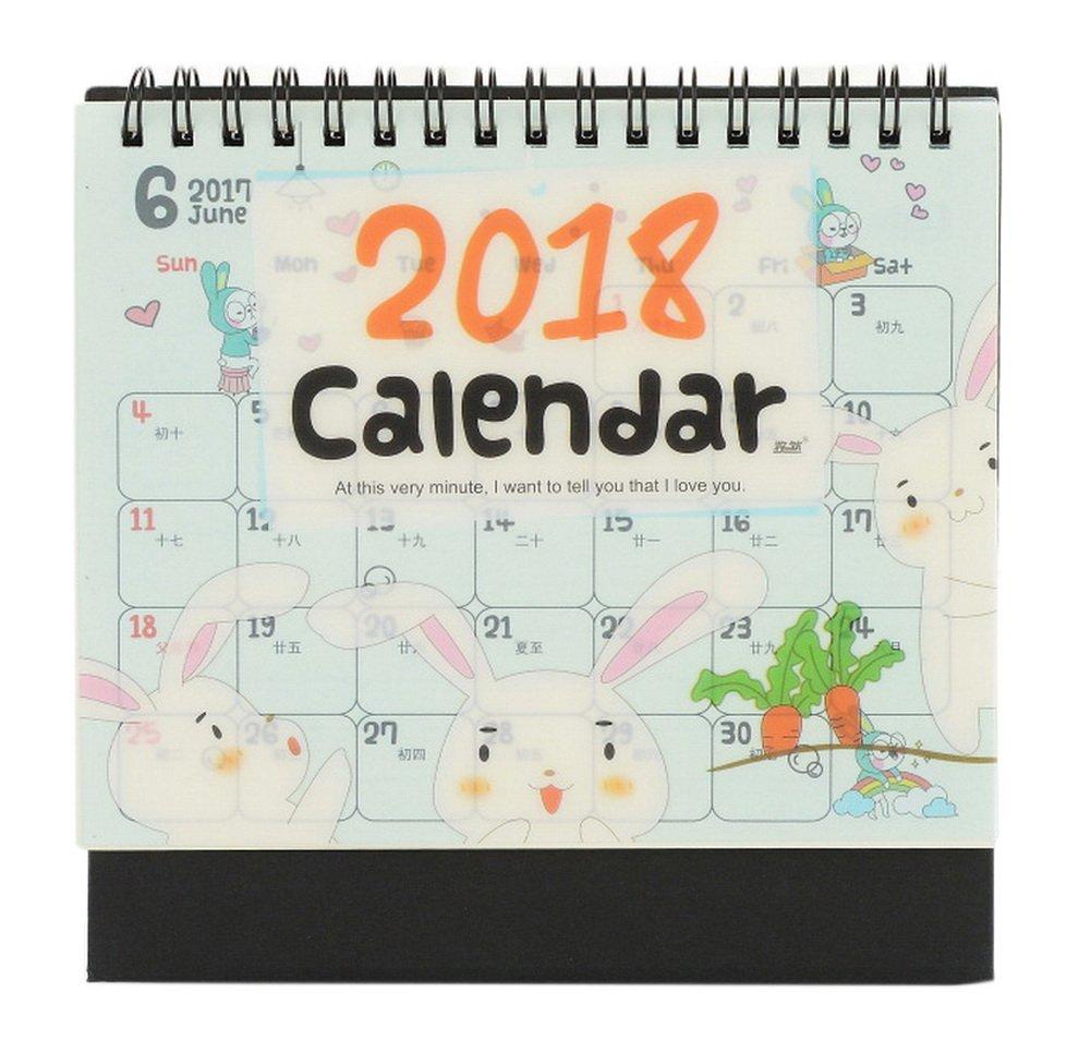 2018 Creative Cute Note Desk Calendar, conejo de dibujos animados y y animados rábano 7ad5c5