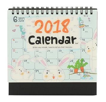 2018 creative cute note desk calendar cartoon rabbit and radish