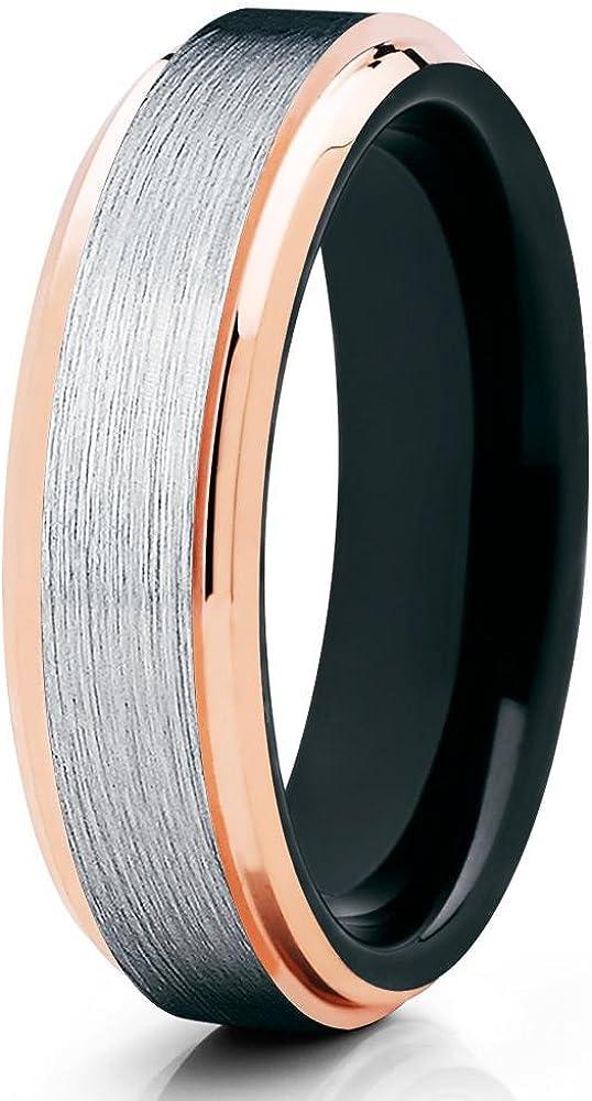 Rose Gold Tungsten Wedding Band 18k Rose Gold Tungsten Black Tungsten Wedding Band Men & Women Tungsten Carbide Comfort Fit Ring