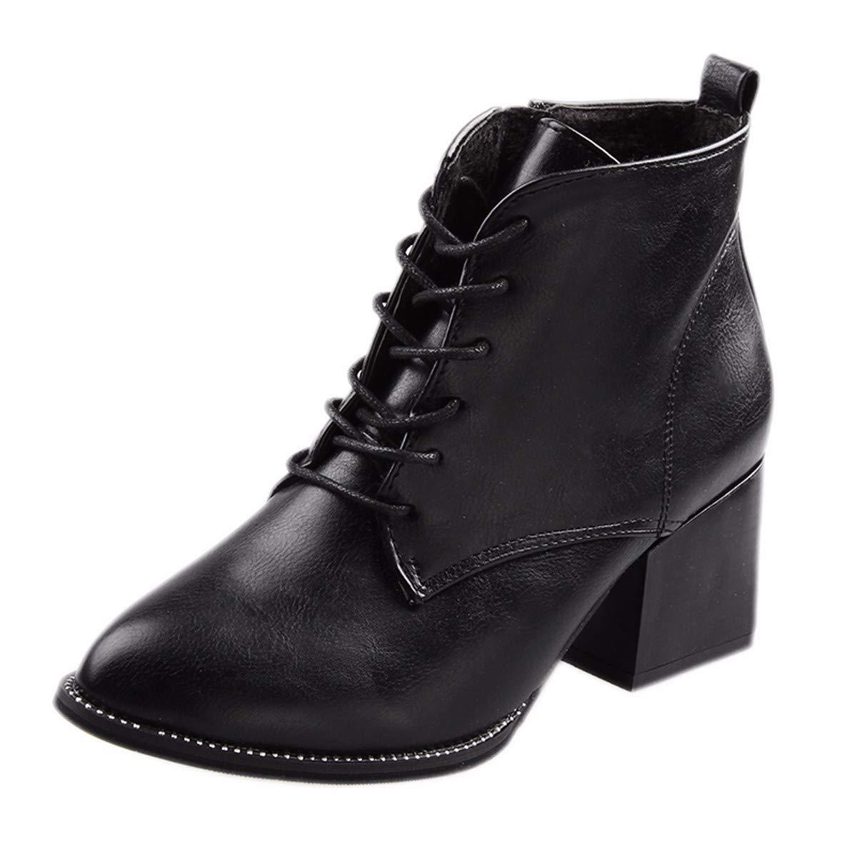 LBTSQ-Mode/Damenschuhe/Martin Stiefel Mit Hohen 6 cm Wild Studenten Heels Schnürsenkel Kurze Röhren Dünne Stiefel.