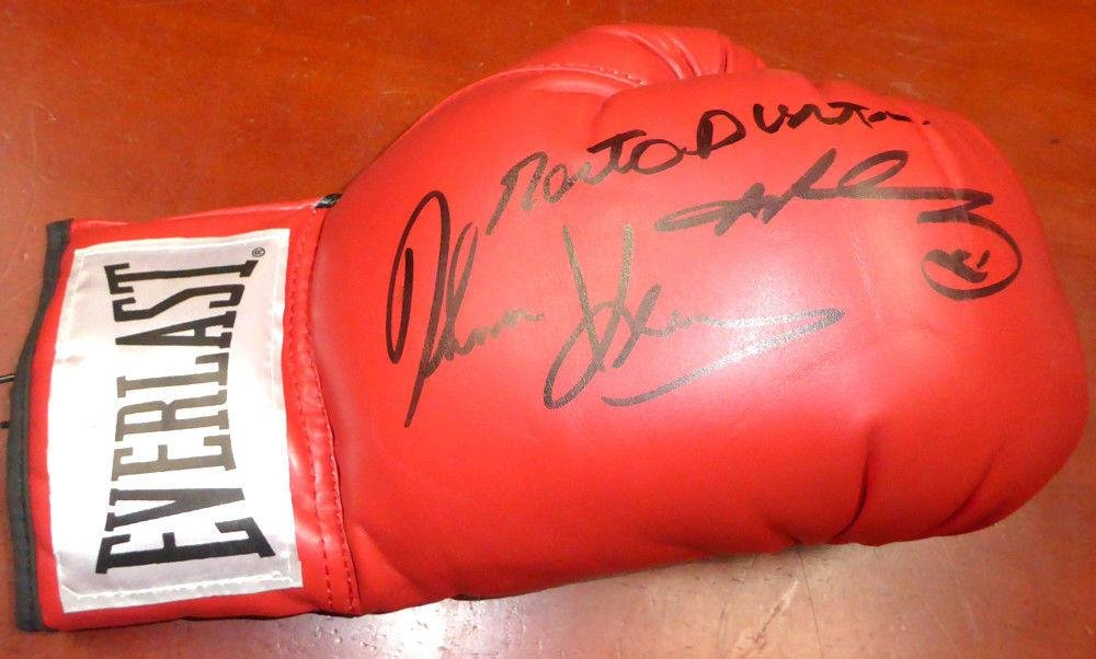 3 Boxing Greats Autographed Boxing Glove Leonard Hearns Duran Lh 112575 PSA/DNA Certified Autographed Boxing Gloves