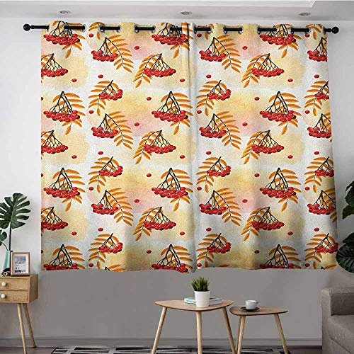 VIVIDX Simple Curtains,Rowan Romantic Fall Season Inspired Tile with Vivid Leafage and Bunch of Berries,Grommet Curtains for Bedroom,W55x63L Orange Red Peach ()