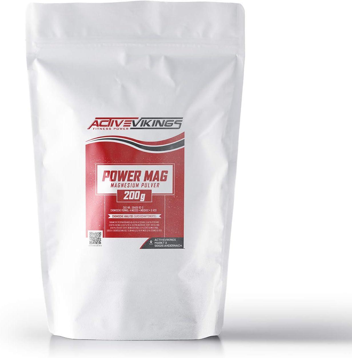 ActiveVikings Power mag Chalk - Bolsa de 200 g de carbonato de magnesio Ideal para la Escalada, el Entrenamiento de Boulder, Fitness y Deportes de Fuerza: Amazon.es: Deportes y aire libre