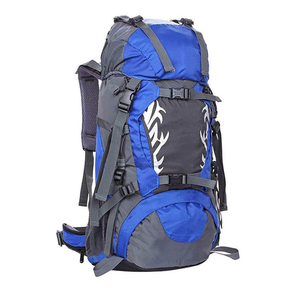 AY-MBJDFX 50L大容量防水ナイロン登山バッグ、 アウトドア旅行 スタイリッシュなスポーツバックパック、 30kgの負荷 (色 : 青) B07H7KSWSZ 青