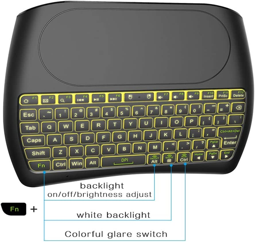 Calvas 7 color Backlit D8 i8 2.4Ghz Wireless Mini Keyboard English Russian Air Mouse Touchpad Controller for Android TV BOX PC Color: Russian Version