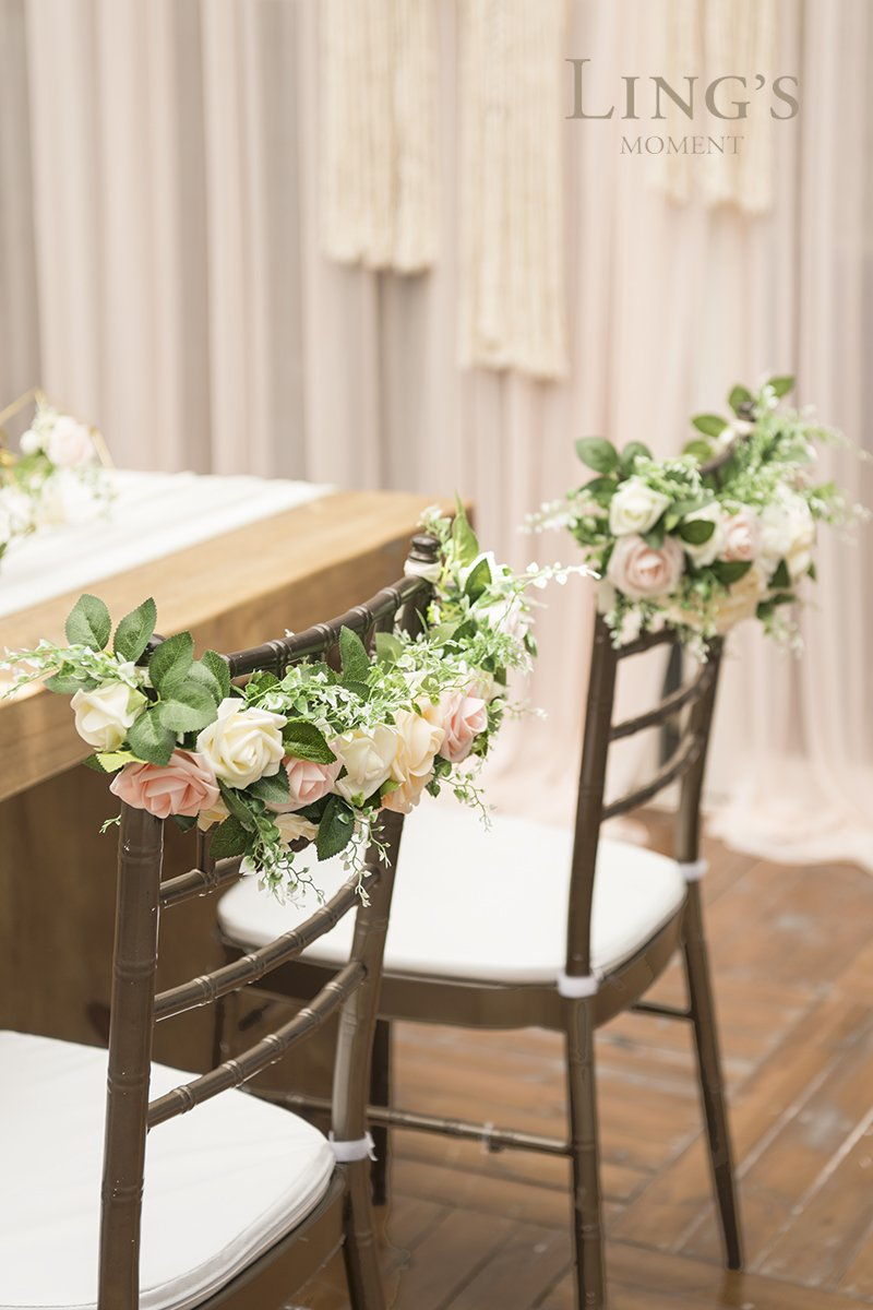 Lings-moment-Nearly-Natural-Rose-and-Peony-Spring-Blooms-Chair-Banners-Wedding-Arch-Wedding-Chair-Decoration-Centerpiece-Silk-Flower-Arrangement-Mixed-FlowerPack-of-2