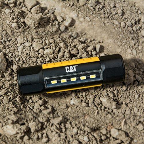 Cat CT3410 Dual Beam Aluminum Tactical Light – Double-Duty 275 Lumen Top Beam, 200 Lumen Flood Panel Light, Black/Yellow
