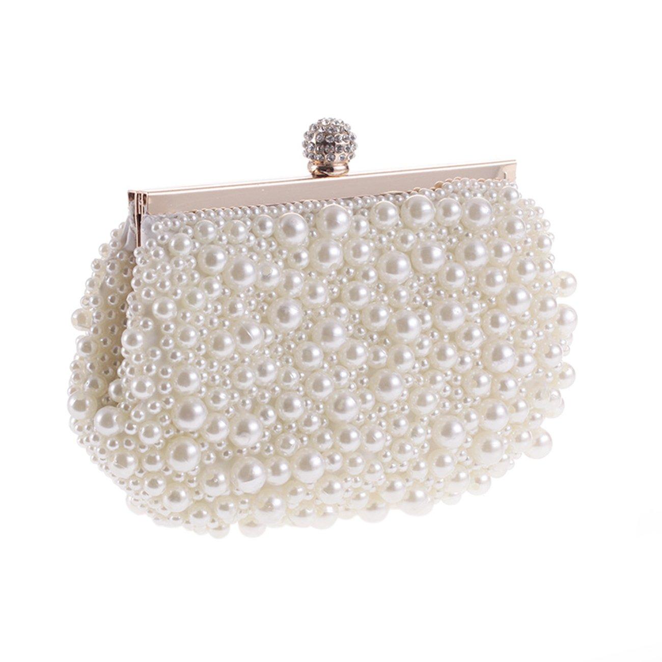 Fit&Wit Evening Bag, Artificial Pearl Clutch Purse Handbag Shoulder Bag for Women
