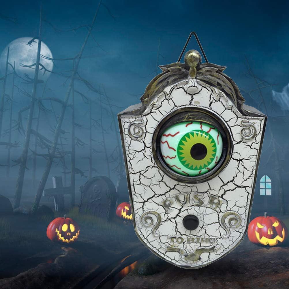 AGAWA Halloween Tuerto Timbre de la Puerta Decoraci/ón Fantasma Brillante Miedo Animado Puerta Campana Decoraciones con Luz Sonido