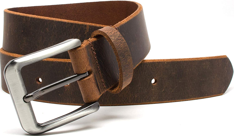 Roan Mountain Distressed Leather Belt Nickel Smart Brown Genuine Full Grain Leather Belt with Nickel Free Buckle