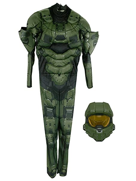 Amazon.com: Halo Boys Master Chief muscular Costume Classic ...