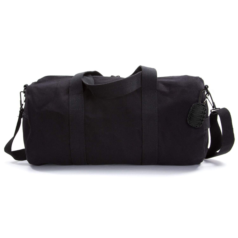 Heavyweight Canvas Duffel Bag, Black, Medium with FREE Paracord Survival Tool