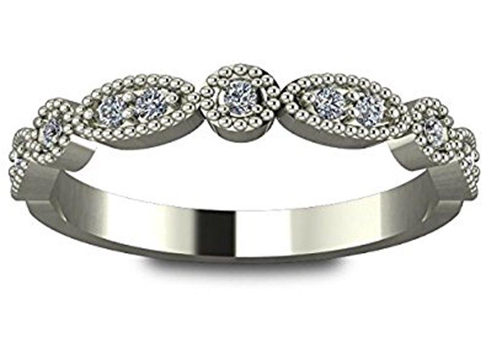 IGI USA Certified 14K Gold Diamond (0.11cttw,G-H, SI2-I1) Wedding Band (white gold, 7.0)