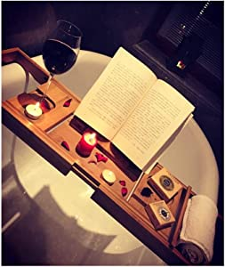 SGMYMX Corner Table Bamboo Bathtub Tray, Reading Rack, Multi-Purpose Bathtub Bracket Laptop Table