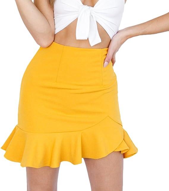 Faldas Cortas Mujer Verano Irregular Volantes Color Sólido Niñas ...
