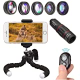 APEXEL Phone Camera Lens with 18x Telephoto Lens+Fisheye,Macro/Wide Angle Lens+Star,Kaleidoscope Filter+Tripod and Shutter 8 in 1 Cell Phone Lens Kit for iPhone Samsung and other Smartphone