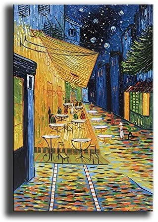 YaSheng Art – Cafe Terrace at Night by Van Gogh Famous Oil Paintings Reproduction Artwork Modern hand-painted Landscape Art Painting Home Office Decor Canvas Wall Art Paintings Ready to Hang 24x36inch