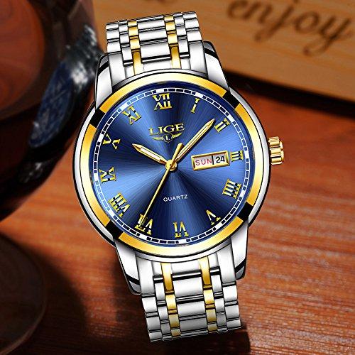 LIGE Mens Watches Stainless Steel Waterproof Analog Quartz Watch Men Business Dress Wristwatch
