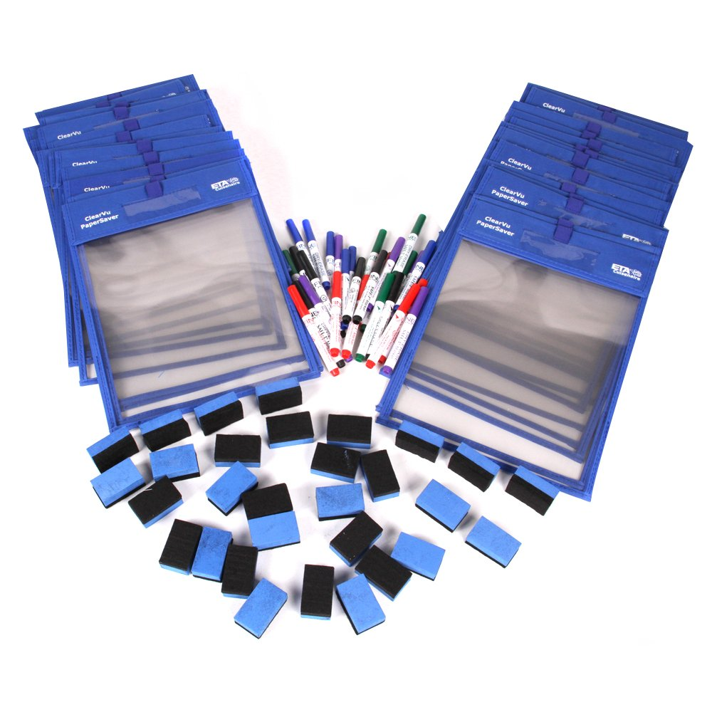hand2mind ClearVu Paper Savers Dry Erase Pockets Classroom Basics Kit
