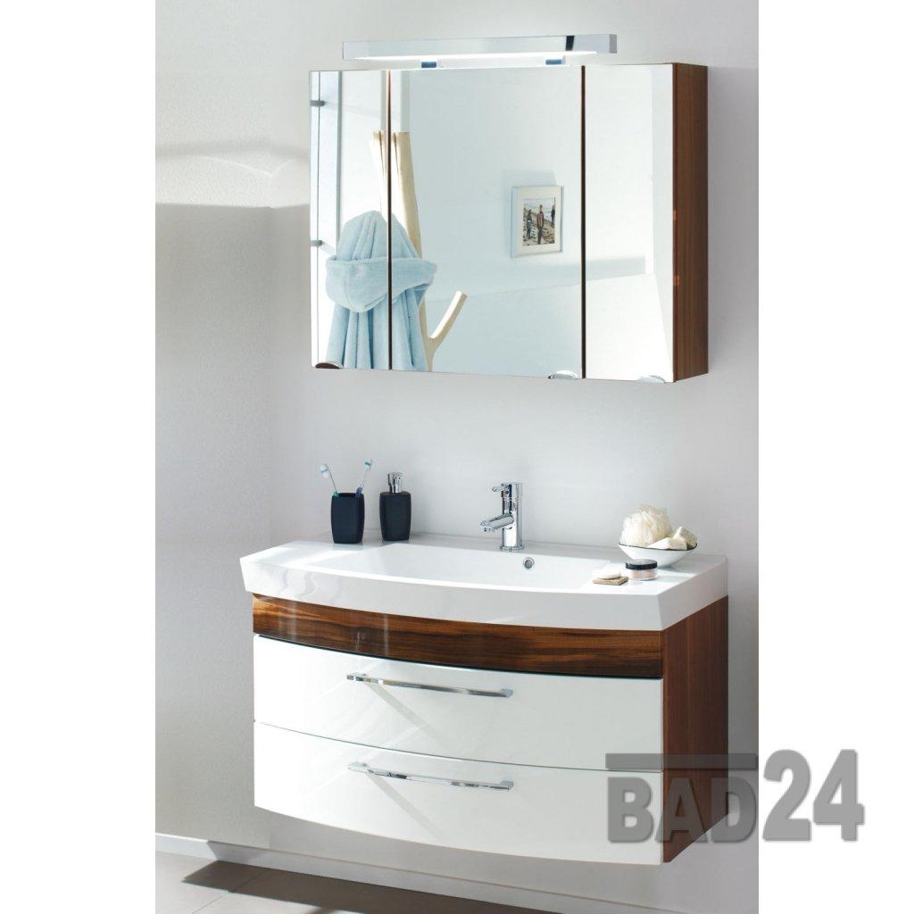BADMÖBELSET Waschplatz Rom HOCHGLANZ WEIß/Walnuss-Nb. 2tlg. inkl. Spiegelschrank