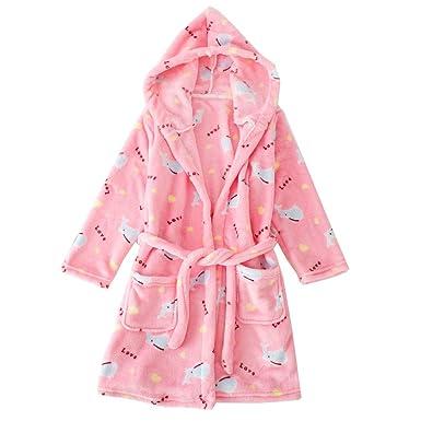JZLPIN Unisexo para niños Franela Encapuchado Bata de baño Niños Calentar Robe Pijama Ropa de Dormir: Amazon.es: Ropa y accesorios
