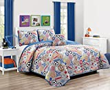 MK Home 3pc Twin Bedspread Coverlet Set Sports Soccer Football Basketball Baseball Super Star Grey Blue Red Orange Black Brown Yellow New