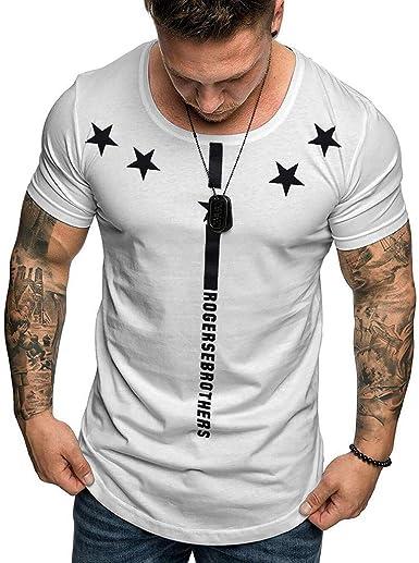 Glaiidy Camiseta con Estampado De Estrellas para Hombre Culturismo Verano Camisa Ajustada con Músculos Top Hombres Cómoda De Manga Corta Colegio Fitness Sport Tops Business To: Amazon.es: Ropa y accesorios