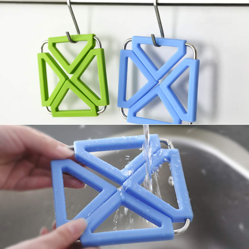 Trivet Mat for Home Kitchen Heat Resistant Silicone/&Stainless Steel Hot Pot Holder Set of 3 Insulated Table Pad and Bowl Mats Non-Stick Non-Slip Coasters