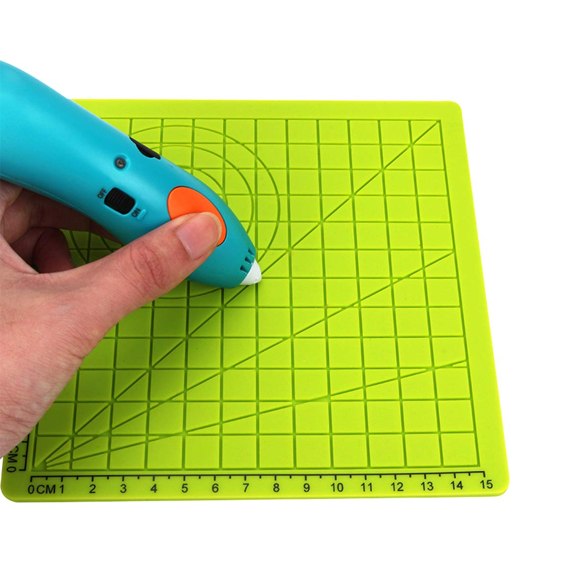 Toaiot 3D Pen Mat Doodle Pad 6.7x6.7 inch with 2 Silicone Finger Caps Basic Geometric Template Multi-Purpose Design for Drawing Tools 3D Pen Accessory Drawing Mat for Kid Adults Artist-Green Type B