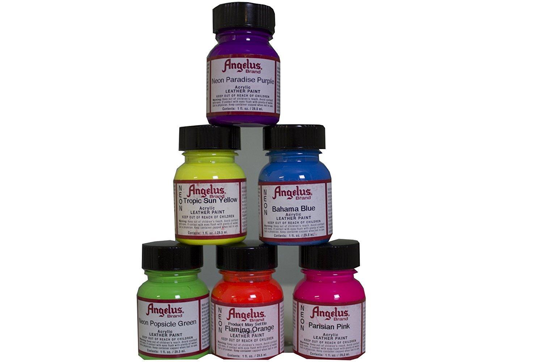 Angelus Neon Acrylic Paint Starter Kit 6 Pack