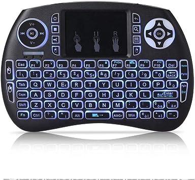 Mini Teclado inalambrico QWERTY de 2,4 GHz portatil con Panel tactil y luz de Fondo para PC/Smart TV/Android TV Box: Amazon.es: Electrónica